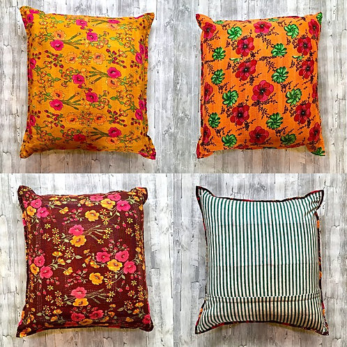 Bright Kantha Floor Cushions