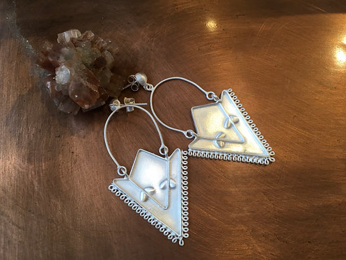 Triangular Finely Brushed Silver Earrings