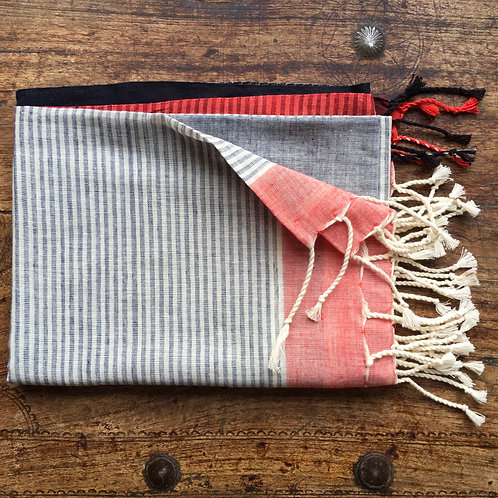 Handwoven Organic Cotton Scarf- Red /Grey/Black
