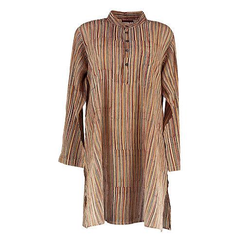 Cotton Block Print Stripe Night Shirt
