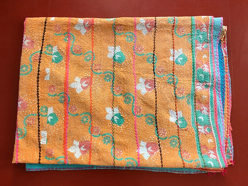 Peach and Patchwork Kantha Vintage Quilt
