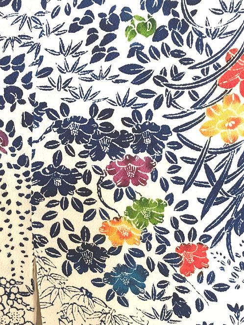 Blue Floral Japanese Vintage Kimono
