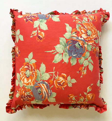 Floral Cushion-Red