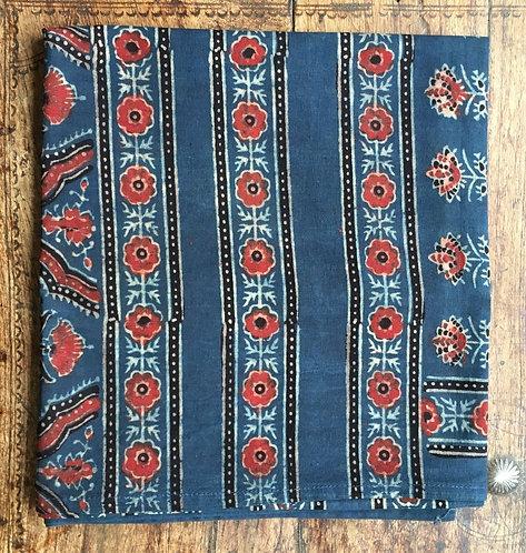 Ajarak Hand Block Printed cotton Scarf -Indigo /Madder