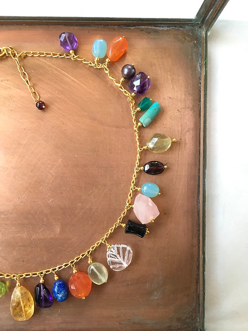 Multi Gem Charm Necklace