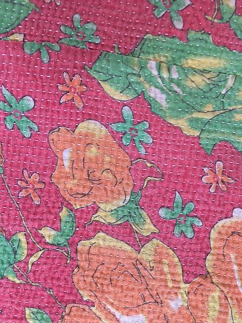 Pink and Green Floral Vintage Kantha Quilt