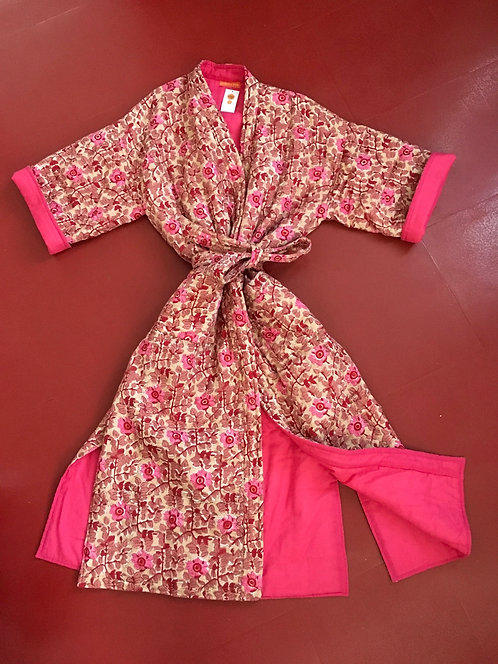 Quilted Cotton Kimono Dressing Gown - Pink Floral