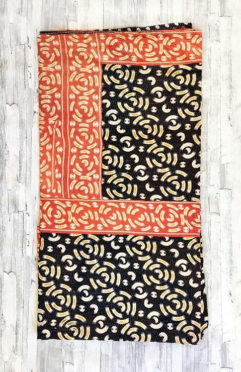 Black Red Geometric Kantha Quilt
