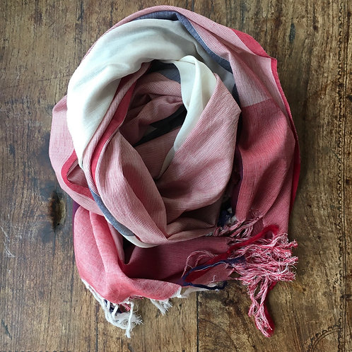Hand Woven Cotton Plaid Scarf - Madder