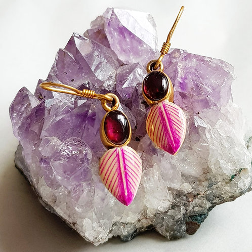 Garnet with enamel leaf earrings