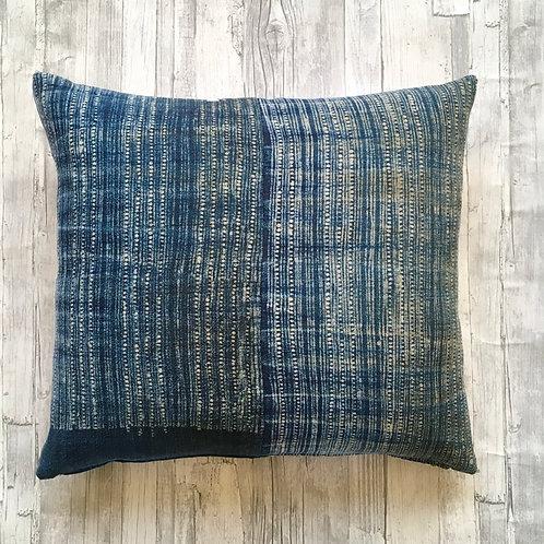 Hand dyed batik Indigo stripe Cushion