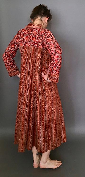 Beautiful Block Printed Cotton Dress-Terracotta Stripe