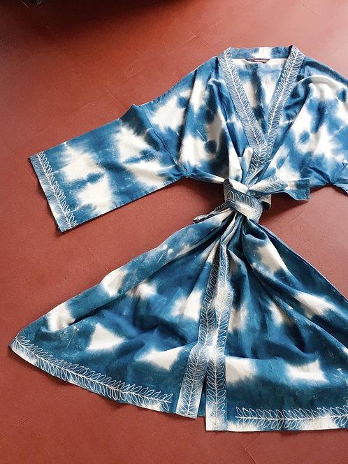 Shibori Indigo Cotton Kimono