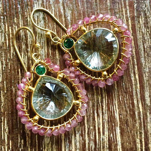 Tourmaline and Green Amethyst Earrings
