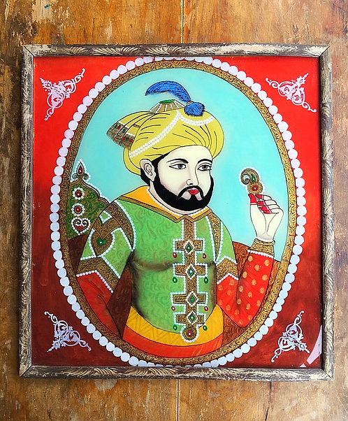 Vintage Indian Reverse Glass Painting : Young Man
