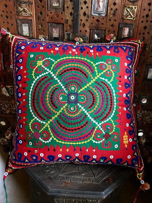 Vintage Hand Embellished Cushion from Gujarat