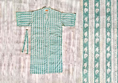 Floral Stripe Cotton Dressing Gownlong