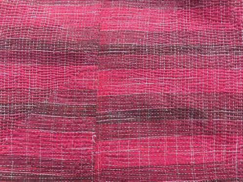 Super Fine Vintage Kantha Quilt - Raspberry Check