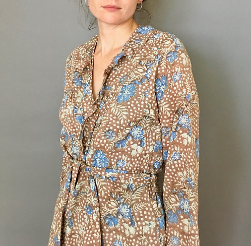 Floral Block Printed Cotton Robe