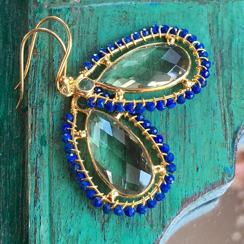 Green Amethyst and Lapis Earrings