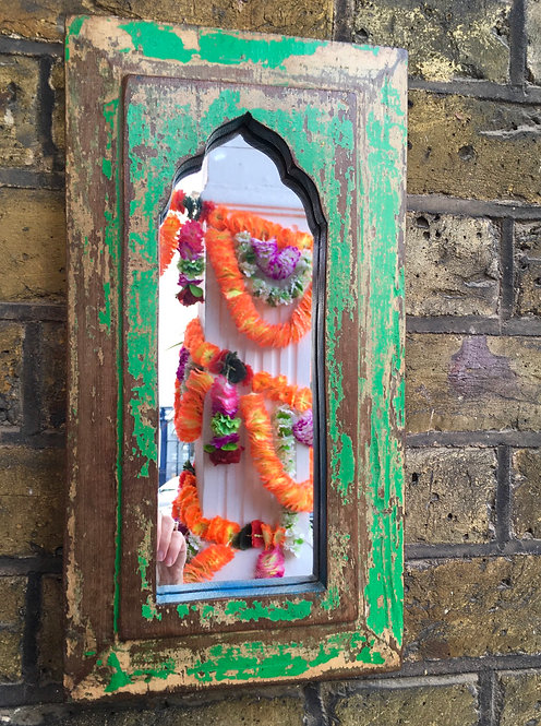 Small Indian Wooden Mirror -Green