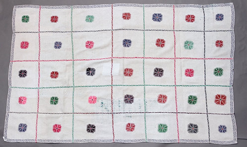 Vintage Fine White Kantha Quilt with Hand Embroidery