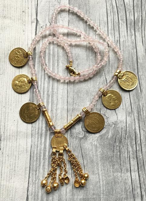 Rose quartz Beaded Vintage Coin Necklace