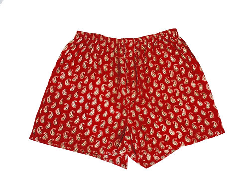 Printed Cotton Men's Boxer Shorts - Red Paisley