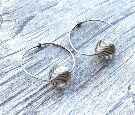 Silver Ball Drop Hoop Earrings