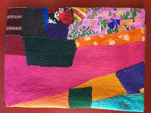 Crazy Colourful Patchwork Vintage Quilt