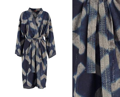 Indigo and Grey Dyed Cotton Kimono Robe