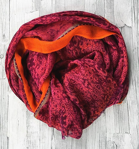 Adel Printed Wool and Embellished Shawl
