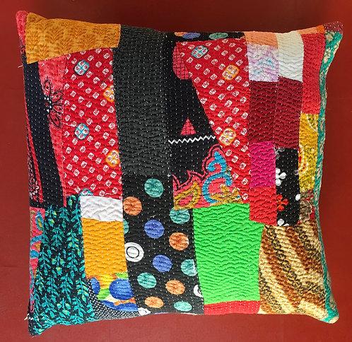 Fabulous patchwork vintage quilt cushion