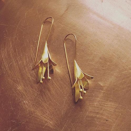 Gold Brugmansias Flower Earings