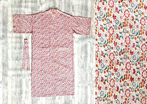 Pretty Floral Cotton Dressing Gown:Long
