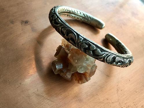Ornate Silver Bangle Bracelet
