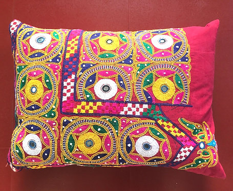 Hand Embroidered Cushion -Vintage Textile