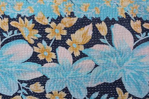 Vintage Kantha Quilt -Turquoise Floral