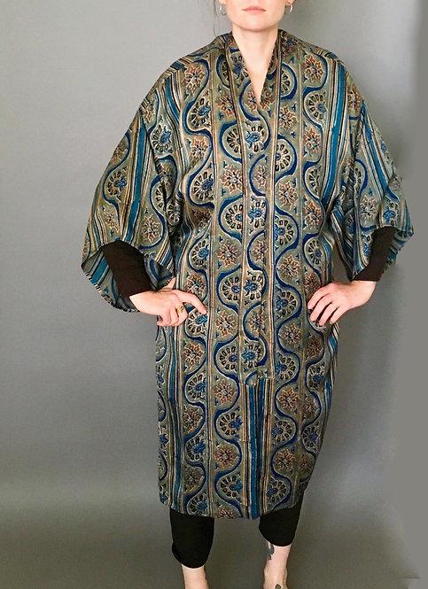 Block Printed patterned stripe Silk Kimono Robe