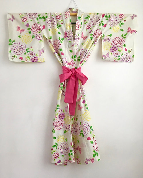 Heart and Rose Print Vintage Cotton Japanese Kimono