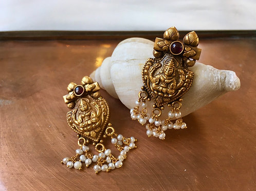 Laxmi Pearl and Garnet Earrings