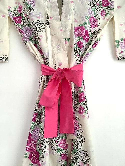 Rose Print Vintage Japanese Kimono