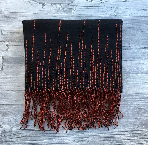 Nepalese Cashmere Scarf with Embroidered Fringe