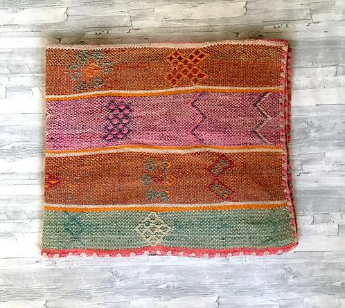 Vintage Peruvian Rug- green/pink