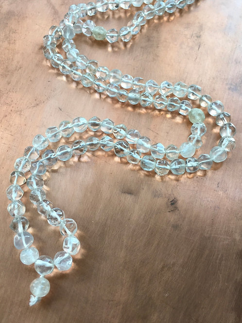 White Topaz Crystal -Hand Carved Beaded Anrique Necklace