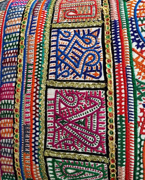 Vintage Rabari Embroidered Grain Bag Cushion