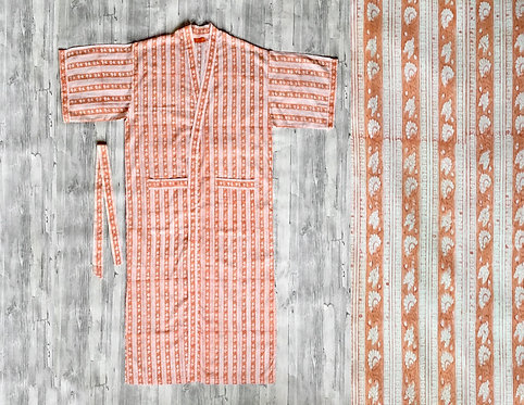 Peach Stripe Cotton Robe