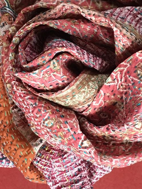 Upcycled Silk Sari Kantha Stitch Scarf -Pinks