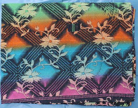 Vintage Kantha Quilt - Multi colour/Black