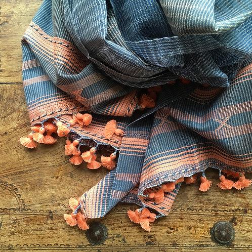 Hand Woven Cotton Gauze Scarf - Grey /Peach